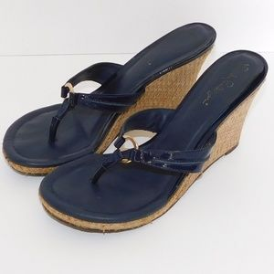 "Lilly Pulitzer ""McKim"" High Wedge Navy Sandal"